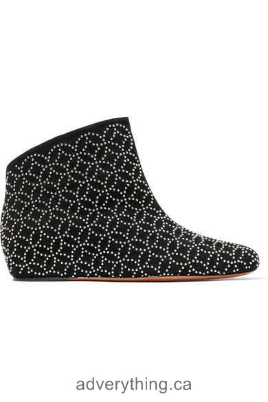 Hot Sale Women Alaïa Studded suede wedge ankle boots Black