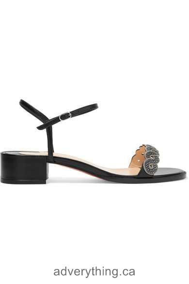 New shoes Christian Louboutin Grekoronda 25 chain-embellished stingray and leather sandals Black Women