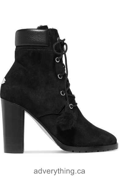 Clearance Sale Women Jimmy Choo Elba 95 shearling-lined suede ankle boots Black