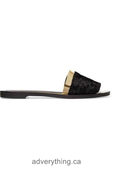 New collection of shoes Lanvin Faux fur and metallic leather slides Black faux fur Women